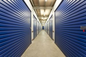 Storage warehouse climate control units blue